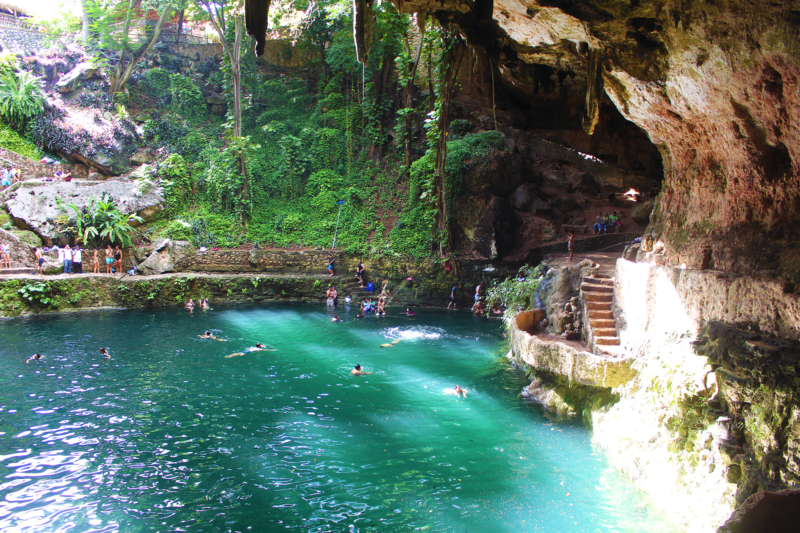 Mexico waterfall cenote valladolid