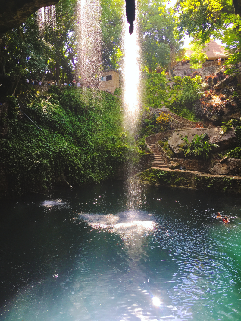 cenote waterfall Valladolid Mexico